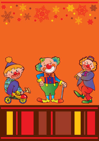 Funny clowns frame  Place for your text  Vector art-illustration  Vector