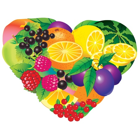sappy: Fruits frame  Place for your text  Healthy food  Vector art-illustration on a white background   Illustration
