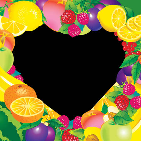 Fruits frame in the shape of heart  Place for your text  Healthy food Vector