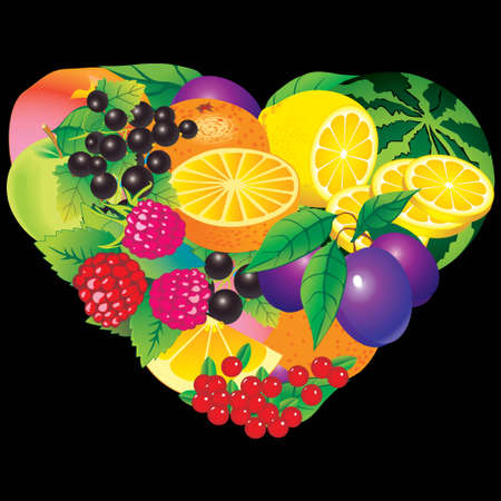 fruited: Fruits frame in the shape of heart  Place for your text  Healthy food