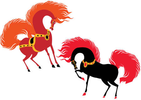 Two beautiful horses  Vector art-illustration on a white background  Vector