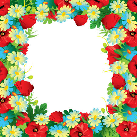 garden frame: Beautiful flowers frame on a white background  Place for your text  Vector art-illustration