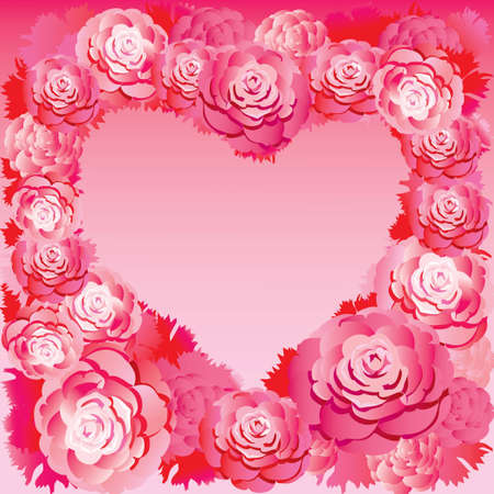 Silhouette of the heart made of roses  Place for your text  Vector art-illustration    Vector