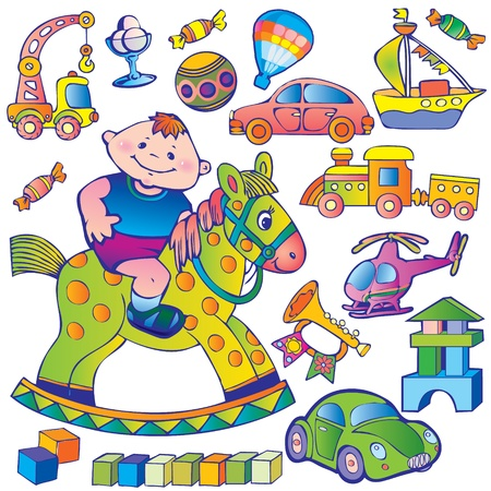 Nice boy with toys  Happy childhood, art-illustration   Vector