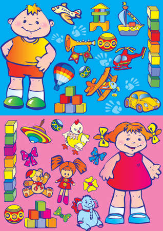 Nice boy and girl with toys  Happy childhood, art-illustration   Vector