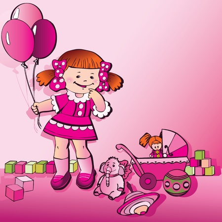 baby doll: Glad girl with toys and balloons on a pink background  Place for your text  Happy birthday  Vector art-illustration