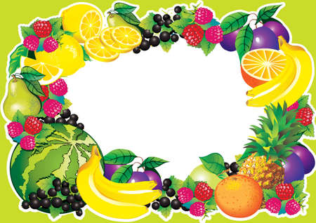 Fruits frame art-illustration   Stock Vector - 12869806