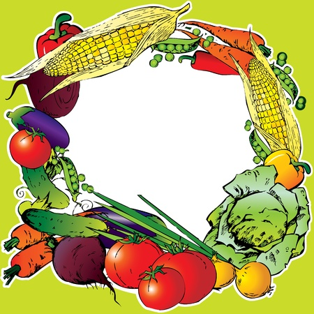Collection of vegetables in the form of frame  Place for your text  Vector art-illustration Stock Vector - 12898231