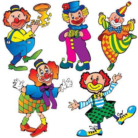 clown cirque: Clowns dr�les Vecteur art-illustration sur un fond blanc Illustration