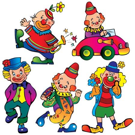 Funny clowns  Vector art-illustration on a white background  Illustration