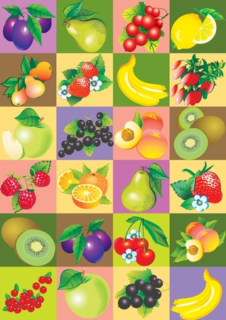 fruited: Seamless pattern of fruit and berries  Healthy food  Vector art-illustration