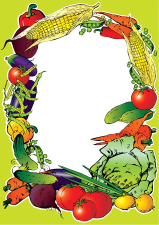 Collection of vegetables in the form of frame  Place for your text  Vector art-illustration   Vector