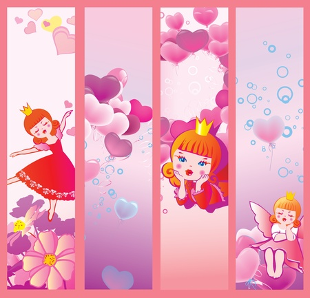 children s art: Valentine s Day banners  Place for your text  Vector art-illustration