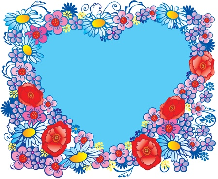 Silhouette of the heart made of flowers  Place for your text  Vector art-illustration  Vector