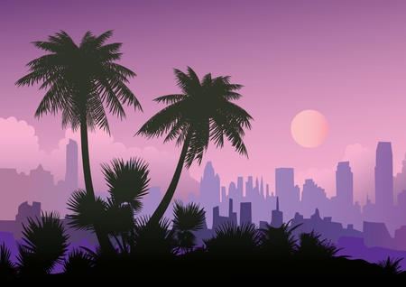 bole: Silhouette of palm trees on the city background  Vector art-illustration  Illustration
