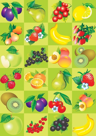 sappy: Seamless pattern of fruit and berries  Healthy food  Vector art-illustration  Illustration