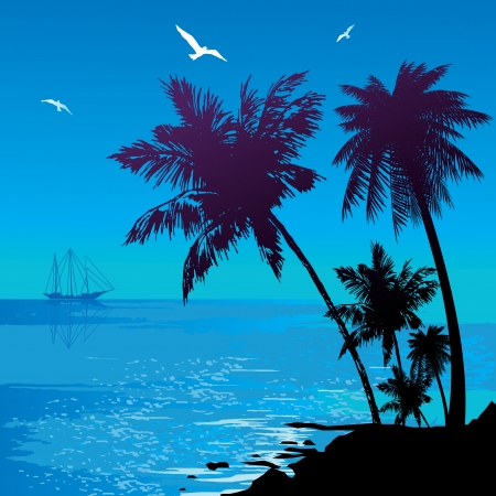 Silhouette of the jungle on the ocean background   Vector art-illustration  Vector