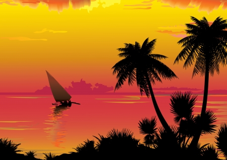 exoticism: Silhouette of the jungle on the ocean background  Vector art-illustration