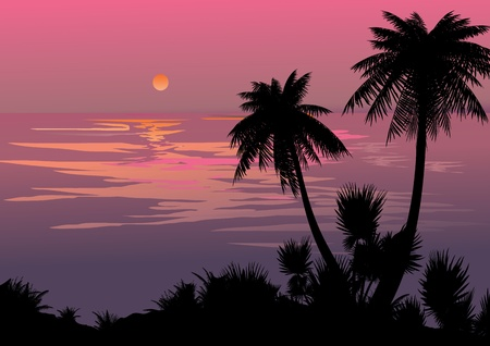 bole: Silhouette of the jungle on the ocean background  Vector art-illustration