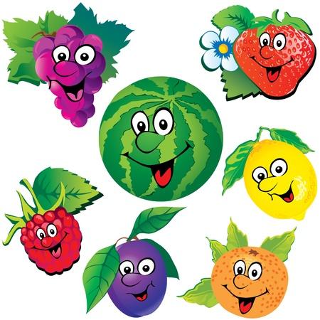 risas: Frutas divertidas Vector art-ilustraci�n sobre un fondo blanco Vectores