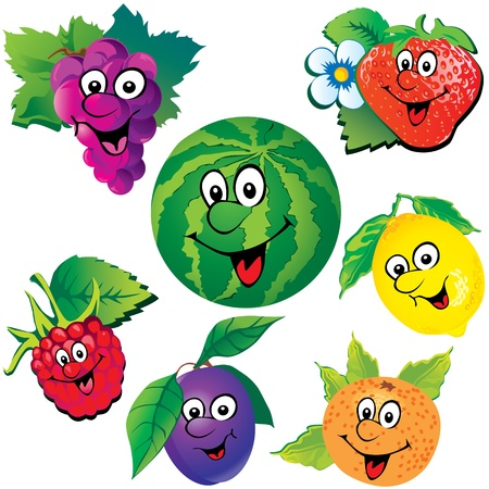 Funny fruits  Vector art-illustration on a white background  Stock Vector - 14906384