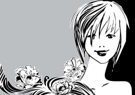 Beautiful girl with a bouquet of flowers  Vector art-illustration on a grey background  Vector