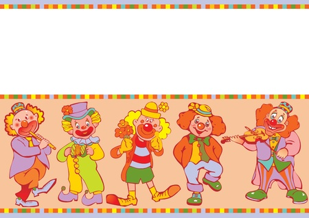 Funny clowns frame  Place for your text  Vector art-illustration Stock Vector - 12933271