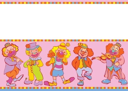 circus artist: Funny clowns frame  Place for your text  Vector art-illustration
