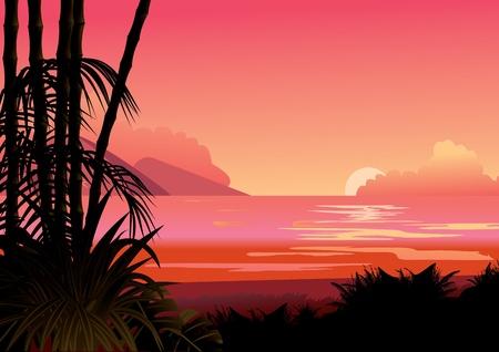 Seashore  Vector art-illustration  Vector