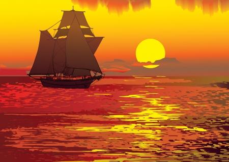 Sailboat in the sea  Vector art-illustration