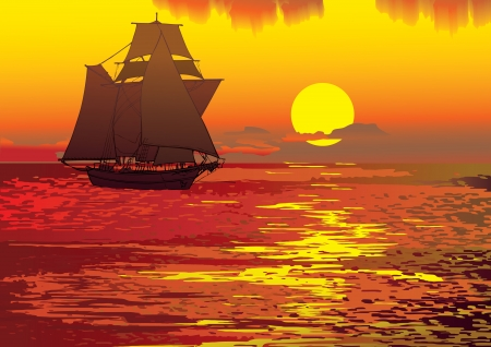 Sailboat in the sea  Vector art-illustration  Vector
