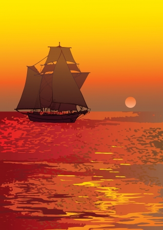 Sailboat in the sea  Vector art-illustration