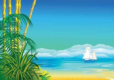 Jungle on the ocean background  Vector