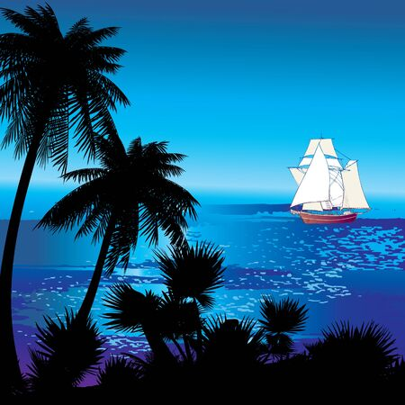 Silhouette of the jungle on the ocean background  Vector art-illustration