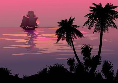 Silhouet van de jungle op de oceaan achtergrond Vector kunst-illustratie