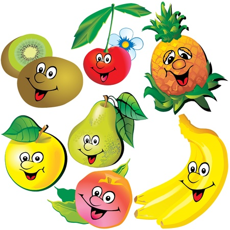 lively: Funny fruits  Vector art-illustration on a white background