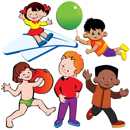 Happy children  Vector art-illustration on a white background  Vector