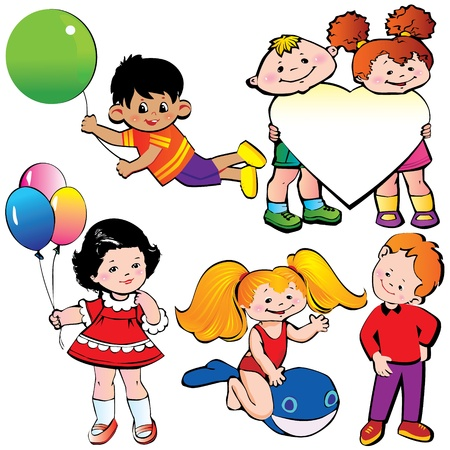 Happy children  Vector art-illustration on a white background  Vector