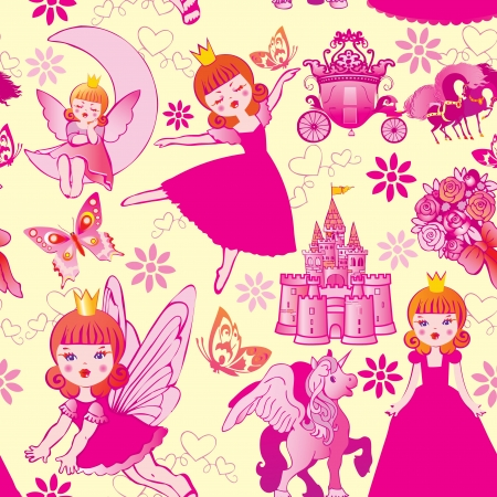 Seamless princess pattern  Vector art-illustration  Vector