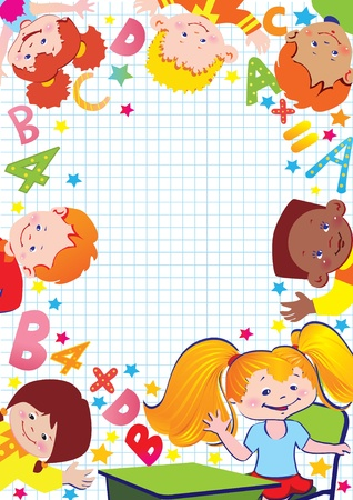 School childhood  Place for your text art-illustration