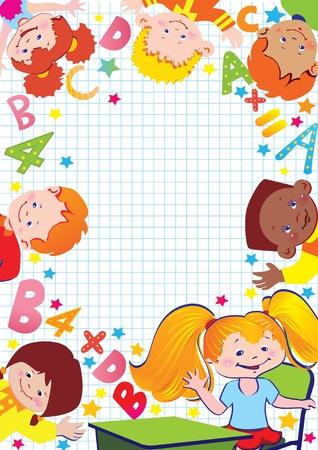 preschool teacher: School childhood  Place for your text art-illustration