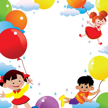 kids birthday party: Children flying on balloons  Place for your text  Happy childhood art-illustration