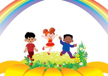 fraternidad: Niños felices juegan juntos en la flor del arte, ilustración