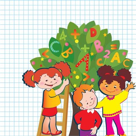 preschool teacher: Children with letters and numbers  School childhood  art-illustration   Illustration