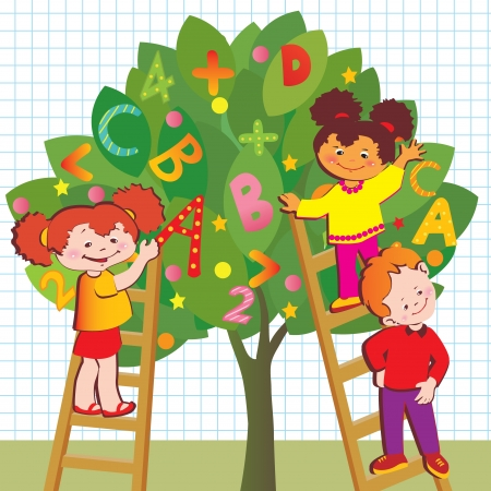 college girl: Children with letters and numbers  School childhood  art-illustration   Illustration