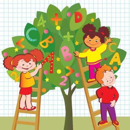 Los niños con letras y números niñez Escuela de Arte-ilustración
