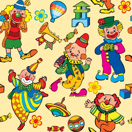circus artist: Cartoon circus seamless pattern art-illustration on a yellow background