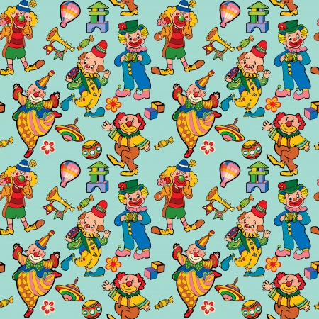 Cartoon circus seamless pattern art-illustration on a green background  Vector
