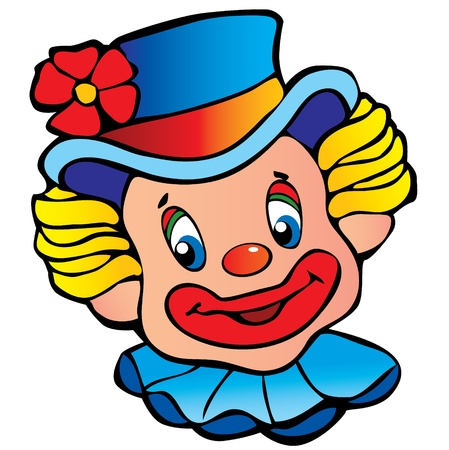 circus clown: Happy clown art-illustration on a white background