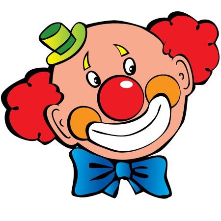 Glücklicher Clown Kunst-Abbildung auf einem weißen Hintergrund